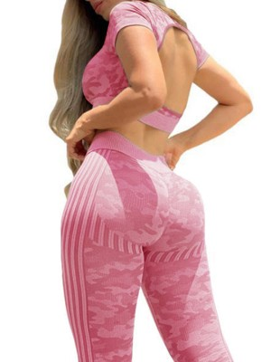 Pink Hollow Out Back Yogawear Suit Camo Print Quick Drying
