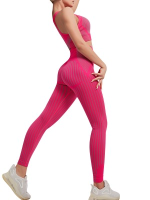 Rose Red Sleeveless U Neck High Waist Yoga Suit Newest Fashion