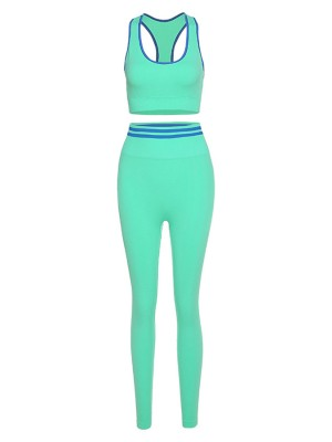 Green Seamless Racerback Sports Suit High Waist Stretchy