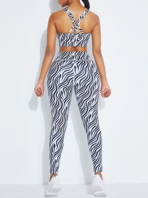 Black Zebra Print Yoga Outfit High Waist Strap Slimming Fit