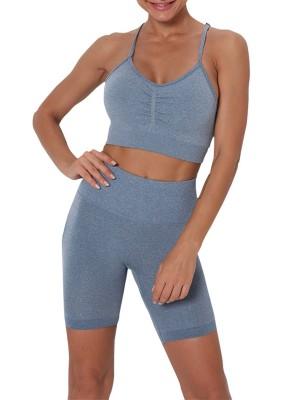 Blue Removable Padded High Rise Sports Suit Comfort Fit