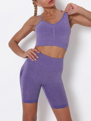 Purple Sling Cropped Bra Thigh Length Leggings Form Fitting