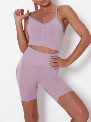 Light Purple Wide Waistband Adjustable Strap Sports Suit Fashion