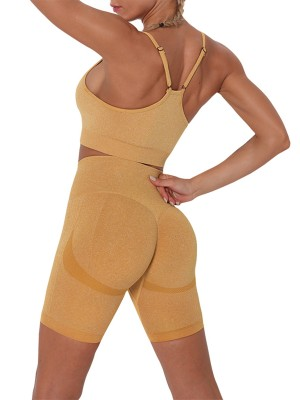 Yellow Seamless Thigh Length Athletic Suit Trendy Style