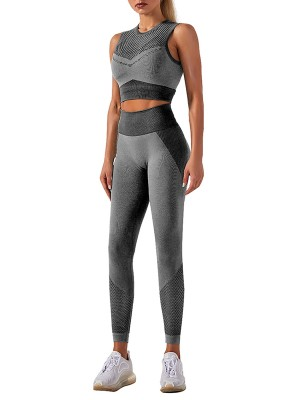 Dark Gray Sports Set Crew Neck Wide Waistband Ladies Activewear