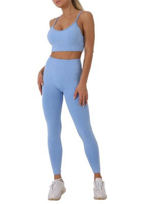 Blue Spaghetti Straps Sports Bra Suit Seamless For Exercising