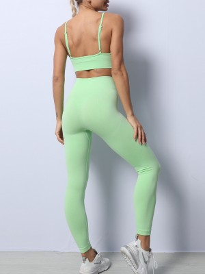 Green Backless Spaghetti Straps Yoga Wear Suit Stretchable