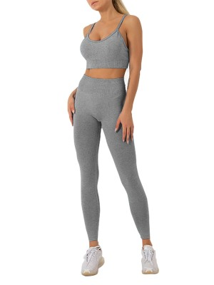 Gray Gym Wear Sets Seamless Sling Ankle-Length Supper Fashion