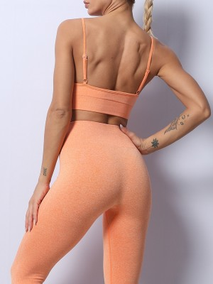 Orange Seamless Solid Color Yoga Suit High Waist Sports