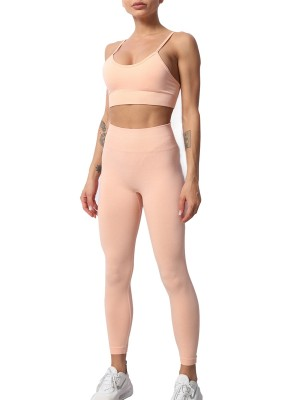 Pink Removable Pad Yoga Bra High Waist Leggings Elegance