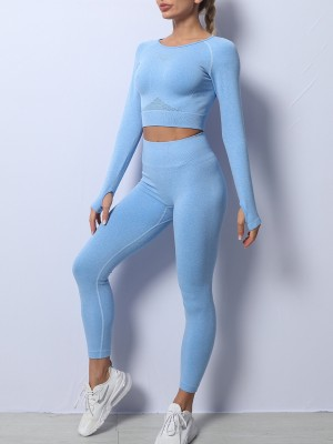 Blue Back Hollow Knitted Seamless Yogawear Suit Weekend Time