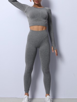 Gray Seamless Long Sleeve Hollow Out Yoga Suit Superior Comfort