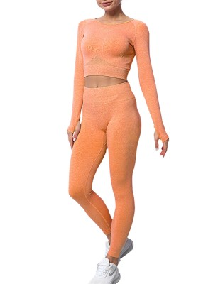 Orange Long Sleeve Crop Top Seamless Leggings Set Preventing Sweat