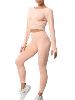 Pink Knit Full Sleeves With Thumb Hole Yoga Set Super Sexy