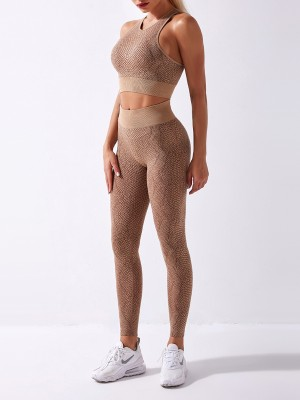 Coffee Color Athletic Suit Wide Waistband Snake Pattern Form Fitting