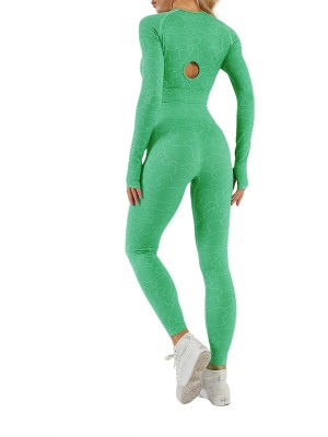 Green Raglan Sleeve Ankle Length Running Suit For Running