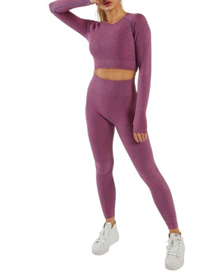 Purple Irregular Paint Cut Out Seamless Yoga Set All Over Smooth