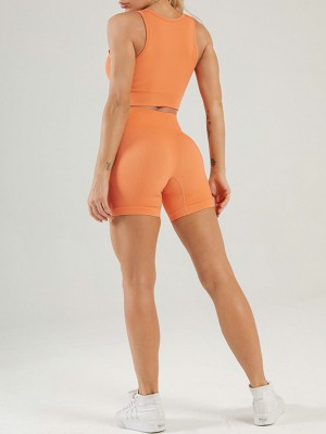 Orange Solid Color Yoga Outfit Low-Cut Neck Seamless Running Apparel