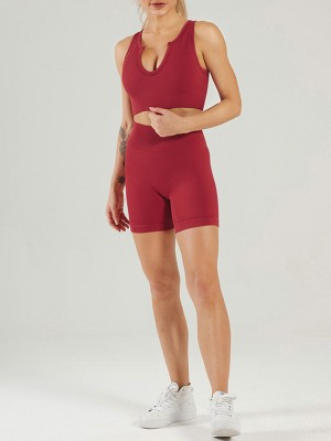 Wine Red High Waist Seamless Yoga Outfit Low-Cut Neck Fast Shipping