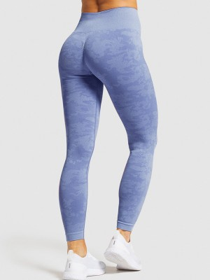Casual Royal Blue Seamless Yoga Leggings Ankle Length Quality Assured