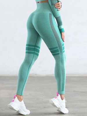 Sculpting Light Green Stripe High Waist Solid Color Yoga Leggings Outfit