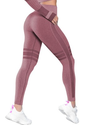 Holiday Wine Red Seamless Yoga Leggings Ankle Length Sports