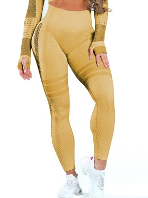 Astonishing Earthy Yellow Mesh High Waist Seamless Sports Leggings Running Outfits