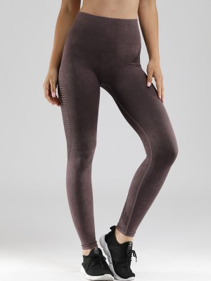 Durable Purple Full-Length Yoga Legging Hollow Out For Lounging