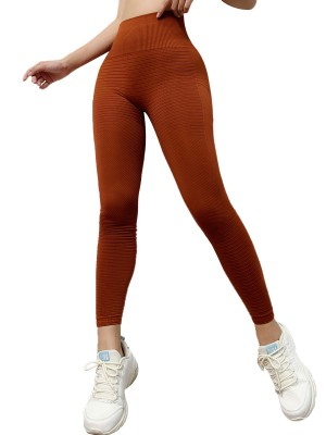 Simply Chic Khaki Athletic Leggings Solid Color High Rise Ladies
