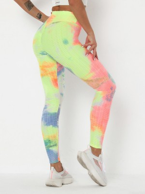 Incredibly Wide Waistband Yoga Pants Tie-Dyed Slim Fit