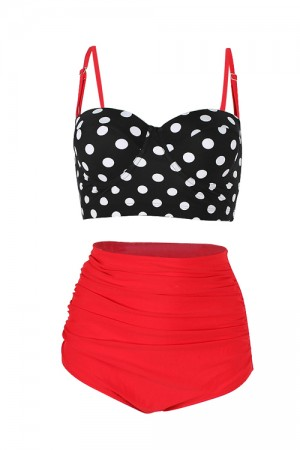 Romance Red High Waisted Two Piece Bathing Suit Stunning Style