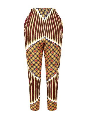 Ingenious Drawstring Ethnic Print Straight Pants Unique Fashion