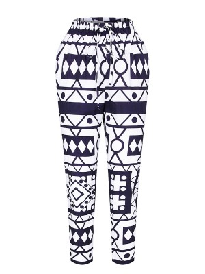 Eye Catching Elastic Waist Full Length Pants Distinctive Look