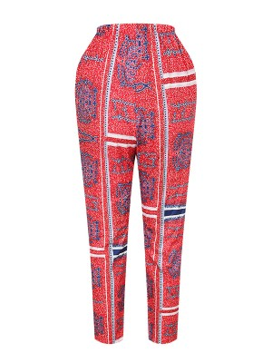 Natural Fit Ankle Length African Pants High Waist For Ladies