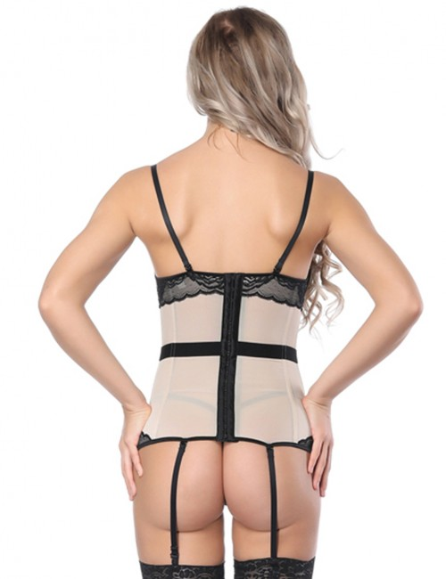 Highest Compression Apricot Lace Hemline Splicing Corset Overbust