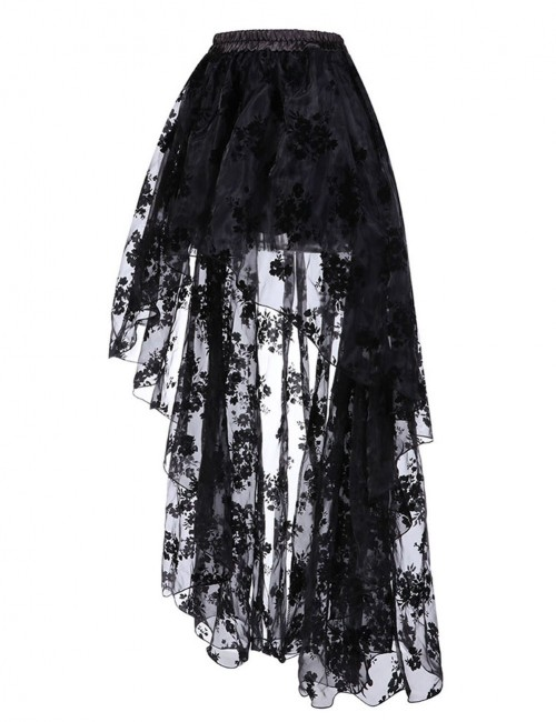 Women Black Floral Pattern Skirt Elastic Waist Natural Outfit