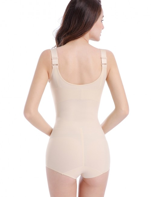 Post Surgery Nude Large Underbust Bodysuit Crotch Hooks Fitted Curve