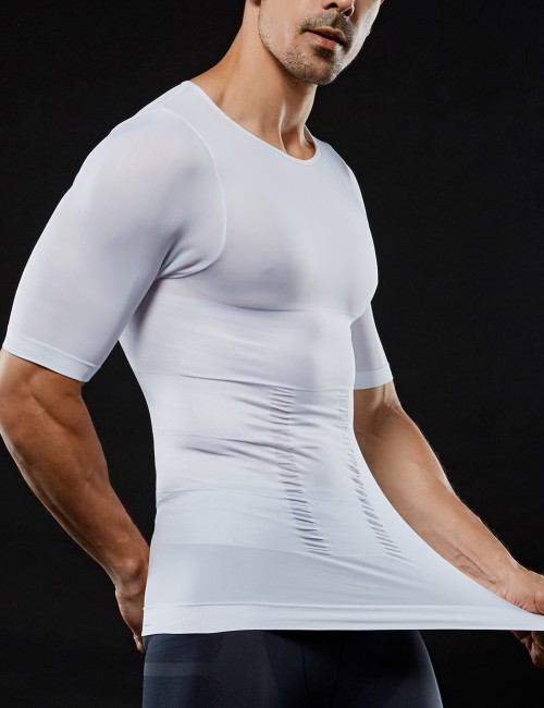 Smoothing White 2 Layers Threaded Cuff Men's Top Slimmer Curve-Creating