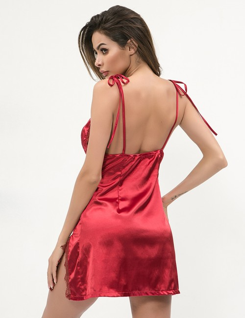 Wine Red Deep V Neck Slit Sling Tie Chemise Backless Romantic Time
