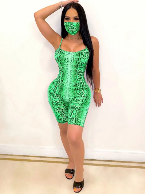 Intrigued Green Mask Jumpsuit Backless Thigh Length For Girls
