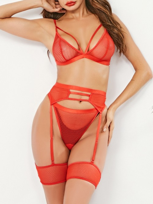 Fascinating Red Hollow Out Bodystocking Strap Hook For Cutie Fashion