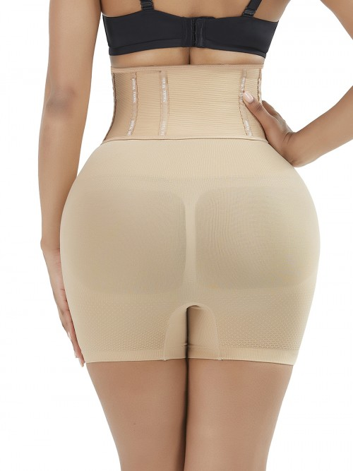 Body Sculpting Skin Color High Waist Seamless Panty Hooks Closure