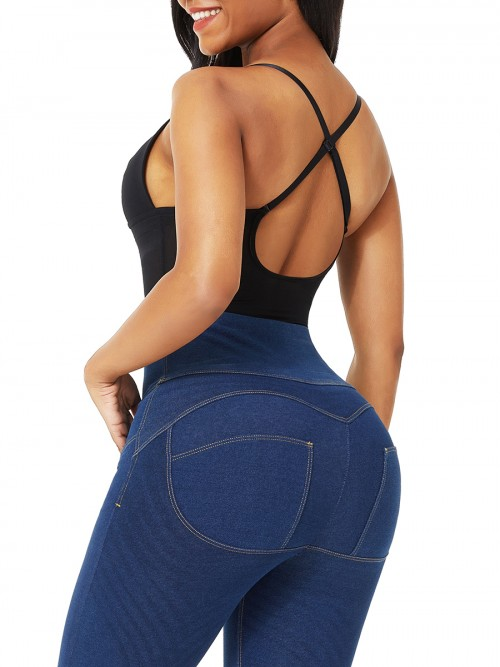 Black Plunge Low-Back Thong Shapewear Bodysuit Compression