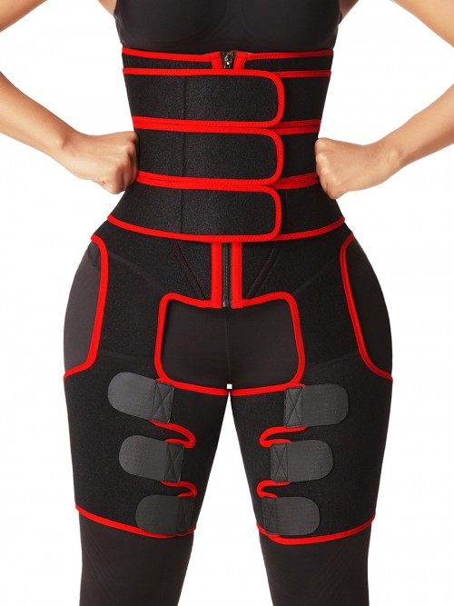 Red High Waist Sticker Thigh Shaper With Zipper Figure Shaper