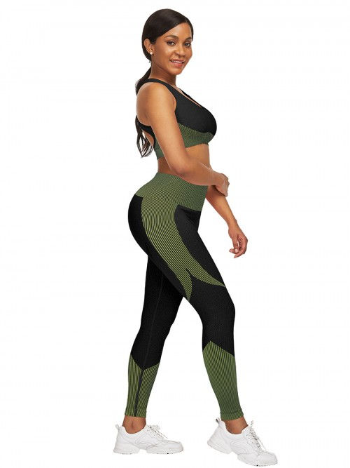 Glam Green Seamless Contrast Color Athletic Suit Comfort Fashion