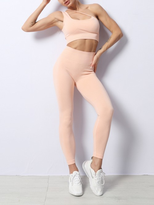 Pink Slanting Straps Seamless Yoga Workout Set Sportswear