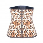 Fat Burn Leopard 9 Steel Boned Hook Sports Latex Waist Cinchers