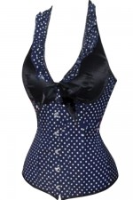 Black with White Polka Dots Overbust Corset