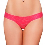 Cheap Lace Panties Women Red Low-rise High-cut Thong  Underwear
