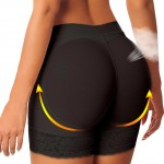 Breathable Plus Size Black Lace Padded Bum Underwear